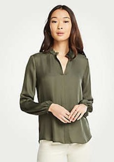 Ann Taylor Ruffle Collar Split Neck Blouse