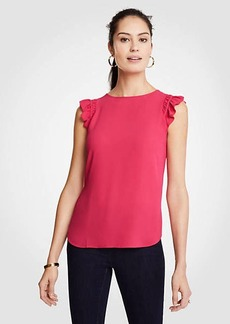 Ann Taylor Ruffle Shoulder Shell