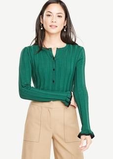 Ann Taylor Ruffle Silk Cotton Cardigan