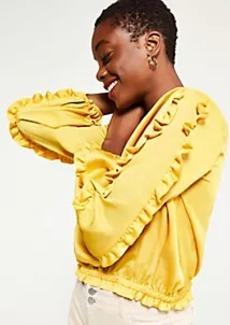 Ann Taylor Ruffle Sleeve Cinched Hem Top