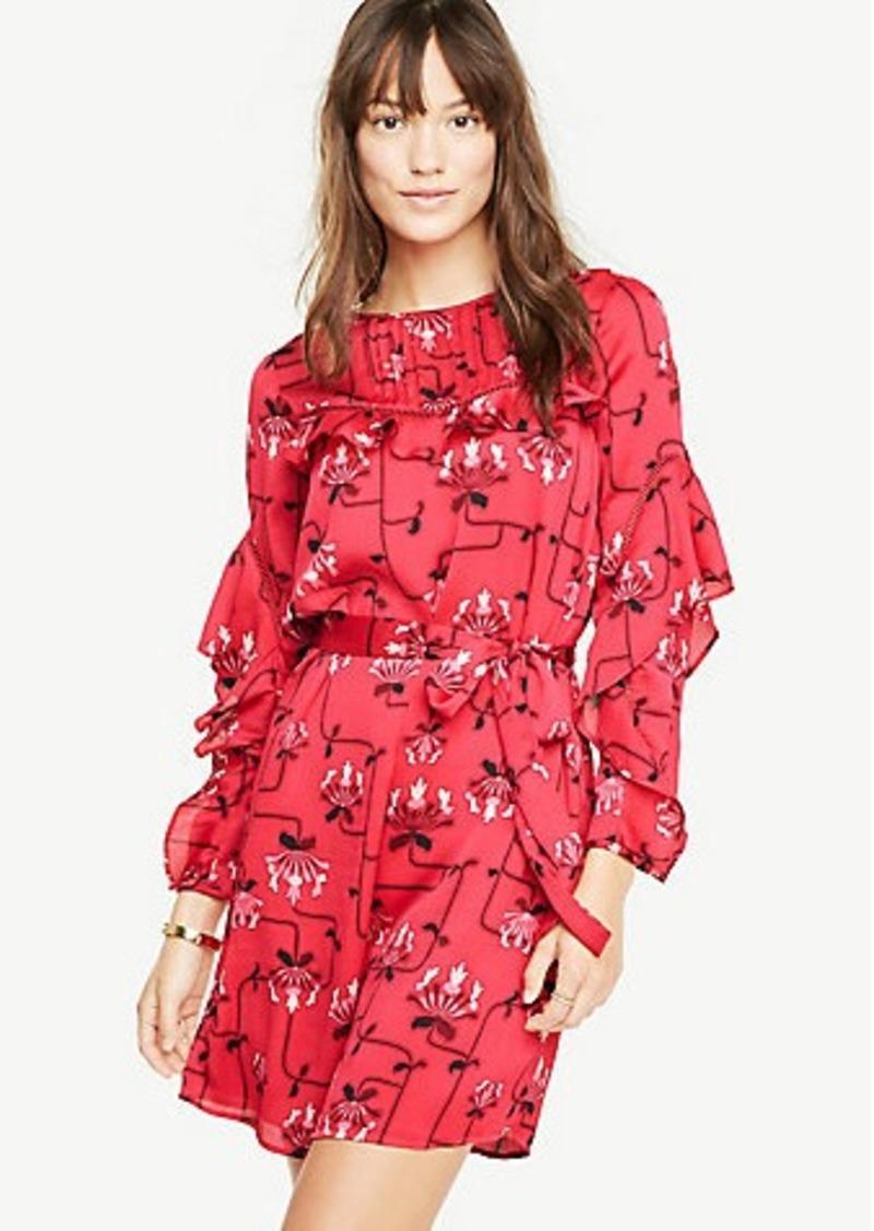 b6c9517e2f2 Ann Taylor Ruffle Sleeve Lace Inset Dress