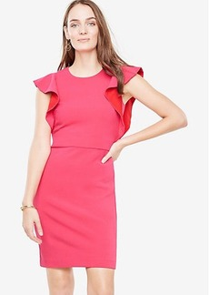 Ann Taylor Ruffle Sleeve Sheath Dress