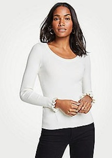 Ann Taylor Ruffle Sleeve Sweater