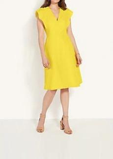 Ann Taylor Ruffle Sleeve V-Neck Flare Dress