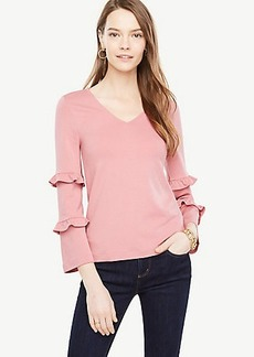 Ann Taylor Ruffle Sleeve V-neck Top
