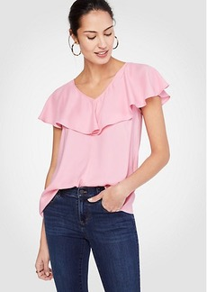 Ann Taylor Ruffle V-Neck Top