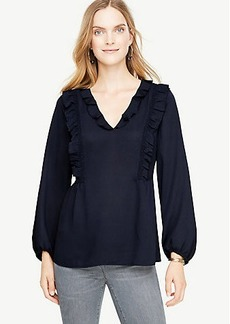 Ann Taylor Ruffled V-Neck Blouse