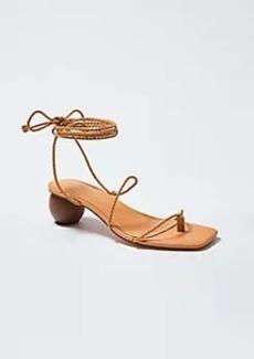 Ann Taylor Samantha Braided Leather Wrap Wood Heel Sandals