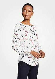 Ann Taylor Savannah Floral Ruffle Balloon Sleeve Top