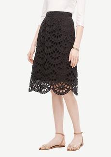Ann Taylor Scallop Eyelet Full Skirt
