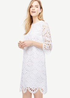 Scallop Eyelet Shift Dress