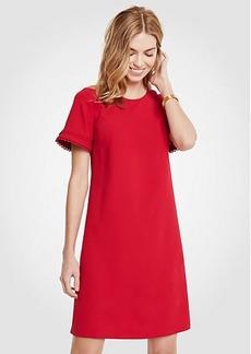 Scallop Trim Flare Sleeve Shift Dress