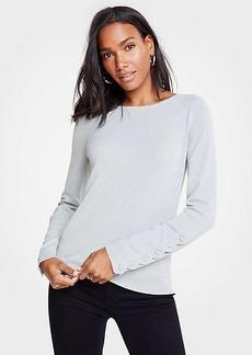 Ann Taylor Scalloped Button Cuff Sweater