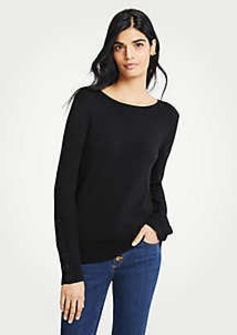 Ann Taylor Scalloped Button Cuff Sweater