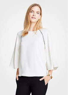 Ann Taylor Scalloped Mixed Media Top