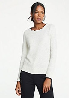 Ann Taylor Scalloped Tipped Sweater