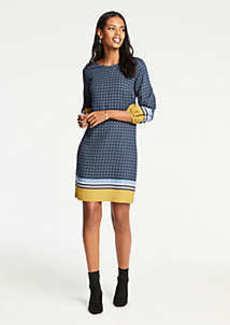 Ann Taylor Scarf Print Lantern Sleeve Shift Dress