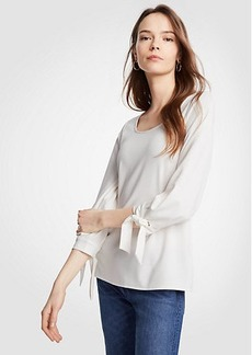 Ann Taylor Scoop Neck Tie Sleeve Top