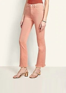 Ann Taylor Sculpting Pocket High Rise Frayed Kick Crop Jeans in Rosey Shell