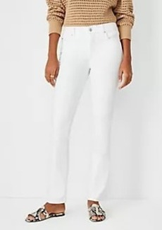 Ann Taylor Sculpting Pocket Mid Rise Slim Boot Cut Jeans in White
