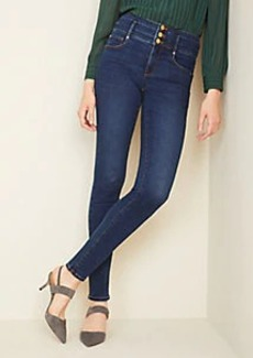 Ann Taylor Sculpting Pockets High Rise Skinny Jeans in Classic Indigo Wash