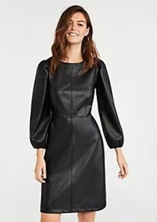 Ann Taylor Seamed Faux Leather Flare Dress