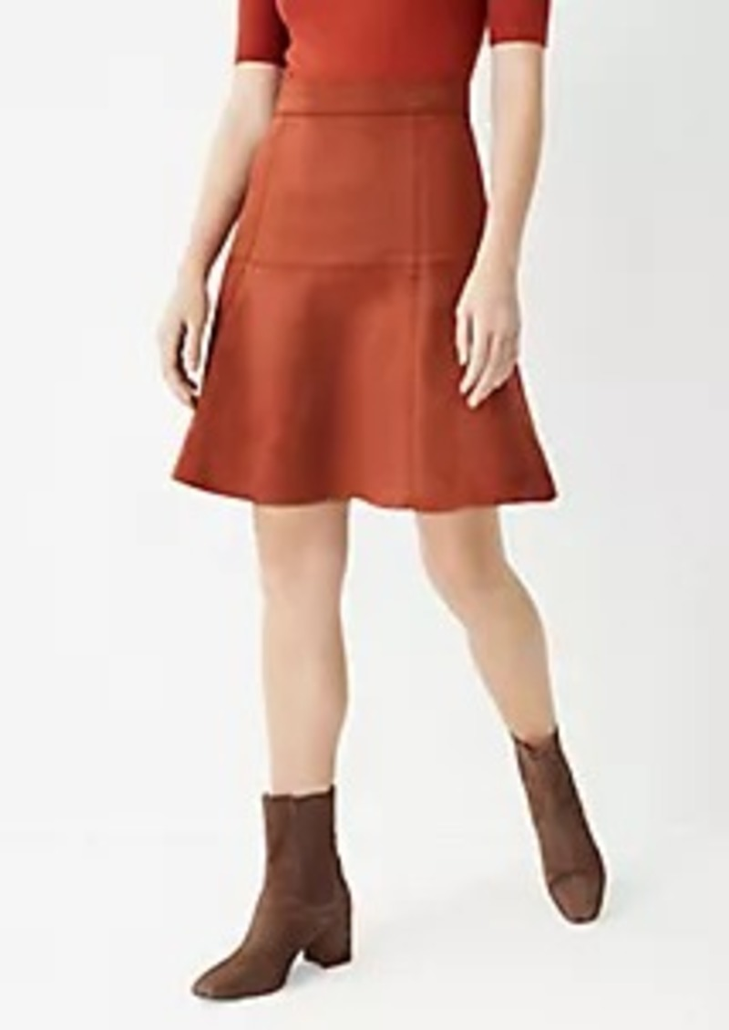 Ann Taylor Seamed Faux Suede Full Skirt