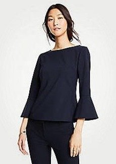 Ann Taylor Seasonless Stretch Flounce Sleeve Top