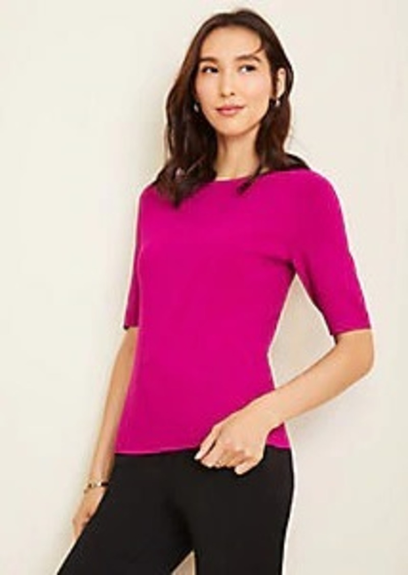 Ann Taylor Seasonless Yarn Boatneck Sweater Tee