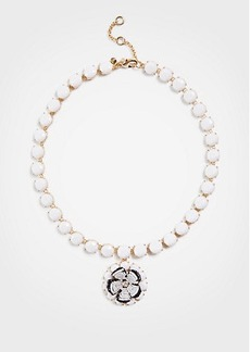 Ann Taylor Seed Bead Flower Pendant Necklace