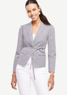 Ann Taylor Seersucker Side Tie Blazer
