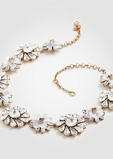 Ann Taylor Sequin Crystal Floral Statement Necklace