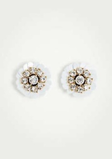Ann Taylor Sequin Crystal Floral Stud Earrings