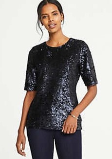 Ann Taylor Sequin Elbow Sleeve Top