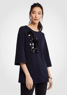 Ann Taylor Sequin Floral Applique Sweatshirt