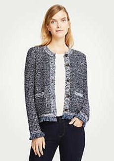 Ann Taylor Sequin Fringe Tweed Jacket