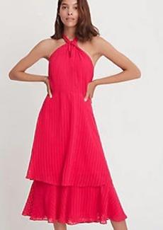 Ann Taylor Shadow Plaid Tiered Halter Maxi Dress
