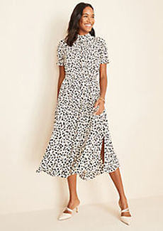 Ann Taylor Shadow Spot Belted Midi Dress
