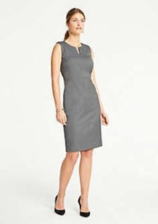 Ann Taylor Sharkskin Split Neck Sheath Dress