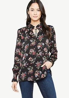 Shawl Floral Smocked Neck Popover Blouse