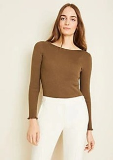 Ann Taylor Shimmer Boatneck Perfect Pullover