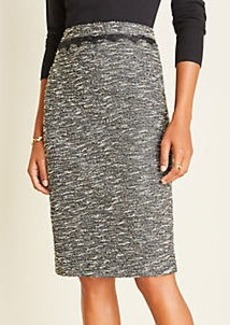 Ann Taylor Shimmer Boucle Lace Trim Pencil Skirt