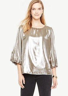 Shimmer Chiffon Balloon Sleeve Top