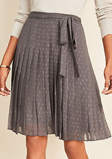 Ann Taylor Shimmer Clip Belted Pleated Skirt