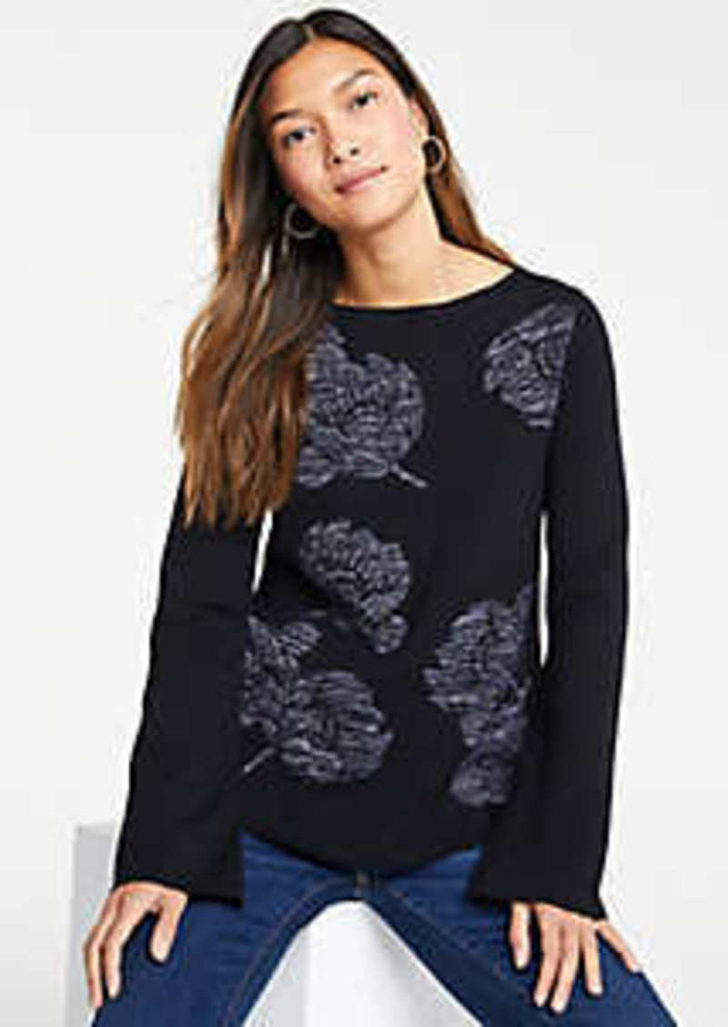 Ann Taylor Shimmer Floral Sweater
