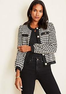 Ann Taylor Shimmer Houndstooth Jacket
