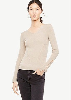 Shimmer Pearlized Button Slit Cuff Sweater