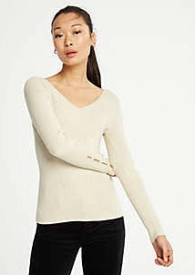 Ann Taylor Shimmer Pearlized Cuff Sweater