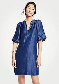 Ann Taylor Shimmer Puff Sleeve Shift Dress