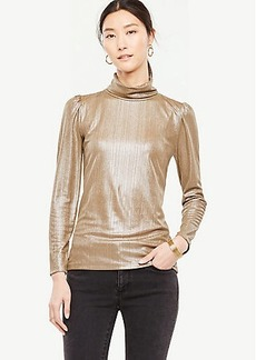 Shimmer Puff Sleeve Turtleneck